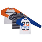 blue Boys Long Sleeve Top - Pack Of 3 (3-10 years)