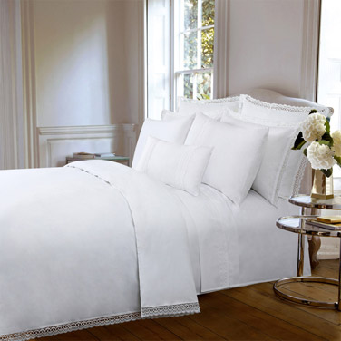 839bb8112a white Francis Brennan the Collection Lace Border Duvet Cover