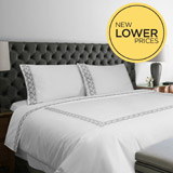 whiteFrancis Brennan the Collection Embroidered Leaf Duvet Cover
