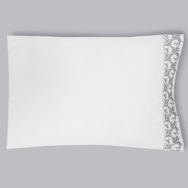 whiteFrancis Brennan the Collection Embroidered Leaf Housewife Pillowcase