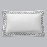 whiteFrancis Brennan the Collection Embroidered Leaf King Oxford Pillowcase