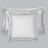 white Francis Brennan the Collection Embroidered Leaf Euro Pillowcase