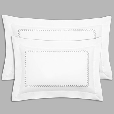 Grey Francis Brennan The Collection Braid Detail King Oxford Pillowcase