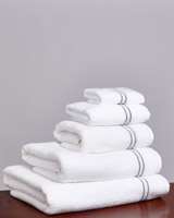 white Francis Brennan the Collection Double Stripe Embroidered Towel