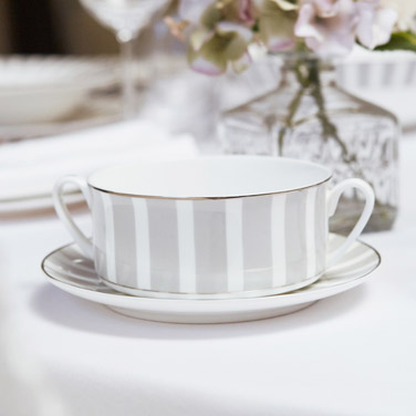Francis Brennan the Collection Stripe China Soup Bowl With Saucer