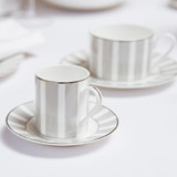 light-grey Francis Brennan the Collection Stripe Bone China Espresso Set