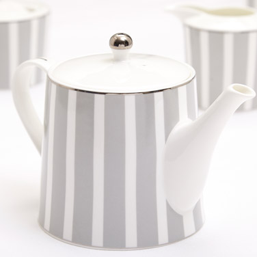 light-grey Francis Brennan the Collection Stripe Bone China Teapot
