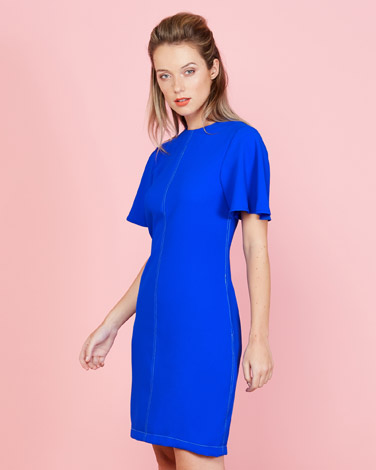 d54a127bd74ca cobalt Lennon Courtney at Dunnes Stores Contrast Stitch Dress