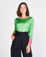 green Lennon Courtney at Dunnes Stores Green Dot Print Top