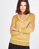 mustard Lennon Courtney at Dunnes Stores Mustard V-Neck Jumper