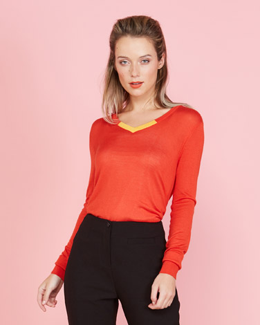 bf02f7c60f orange Lennon Courtney at Dunnes Stores Contrast V-Neck Knit