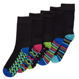 black-print Cushion Sole Socks - Pack Of 5