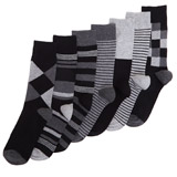 grey-check Design Socks - Pack Of 7