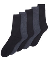 black Mens Leisure Socks - Pack Of 5