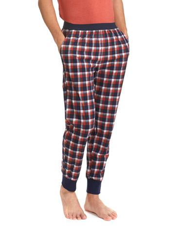 0e3256a26f0 navy-rust Polished Fleece Cuff End Pyjama Pants