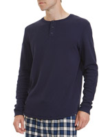 navy Long-Sleeved Waffle Top
