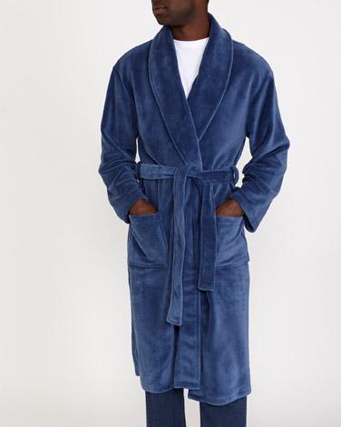 denimSateen Fluffy Robe