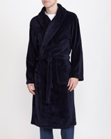 navy Sateen Fluffy Robe