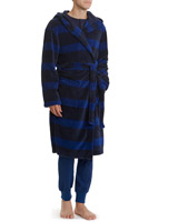 navy-blue Stripe Hooded Robe