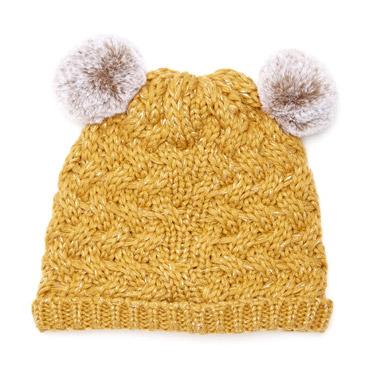66f1224c62657 yellow Double Pom Pom Hat