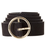 black Round Buckle Belt