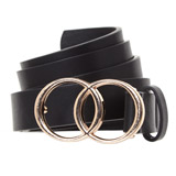 black Double Buckle Belt