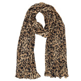 brown Ruched Leopard Scarf