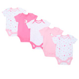light-pink Girls Tonal Bodysuits - Pack Of 5