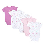 baby-pink Girls Printed Bodysuits - Pack Of 5