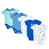 mid-blue Boys Printed Bodysuits - Pack Of 5