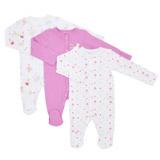 pinkGirls  Printed Sleepsuits - Pack Of 3