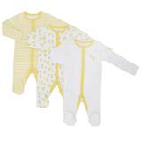 yellowUnisex Tonal Sleepsuits - Pack Of 3