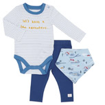 blueThree Piece Bodysuit Set