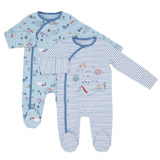 blue Play Sleepsuits - Pack Of 2