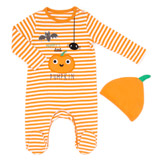 orange Pumpkin Sleepsuit And Hat