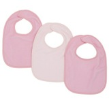 pink Baby Terry Bibs - 3 Pack
