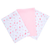 pink-white Printed Muslin Squares - Pack of 3