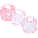 pink-white Girls Cotton-Blend Bibs - Pack Of 3