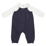 navy Spot Dungaree Set