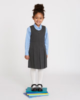 grey Pleated Pinafore