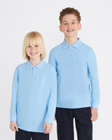 blue Unisex Pure Cotton Long-Sleeved Polo Shirts - Pack Of 2