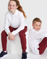 whiteUnisex Pure Cotton Long-Sleeved Polo Shirts - Pack Of 2