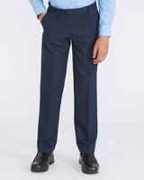 navy Rigid Waist Pleat Front Trousers