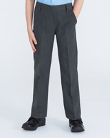 grey Boys Flat Front Trousers