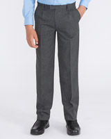 grey Longer Length Rigid Waist Trousers