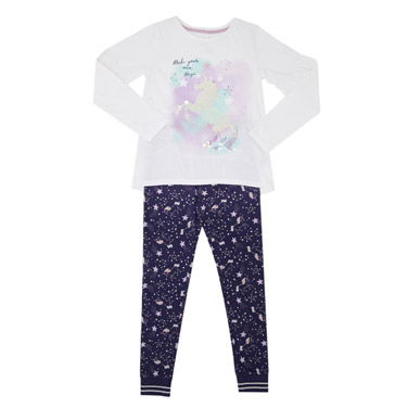 a8eb25dcff3b0 winter-white Girls Sequin Unicorn Pyjamas