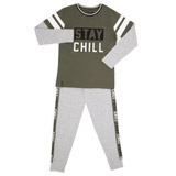 khaki Embossed Pyjama Set