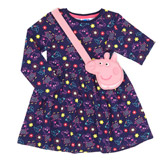 navy Girls Peppa Dress And Bag Set