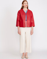 red Carolyn Donnelly The Edit Leather Jacket