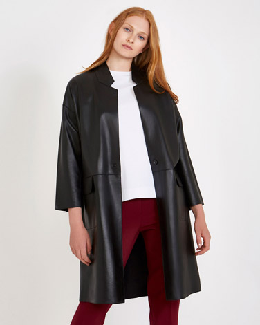 dca20c94a03 Carolyn Donnelly The Edit Black Leather Coat